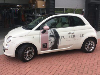 carwrap van fiat 500 voor kledingwinkel Tuttebelle Rotterdam