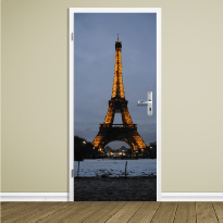 deur met print parijs eifeltoren