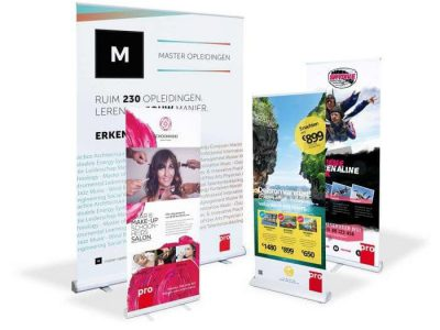 Roll-up banners in diverse afmetingen